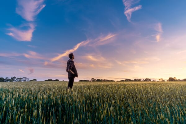 Man in a grassy field looking to setting sun