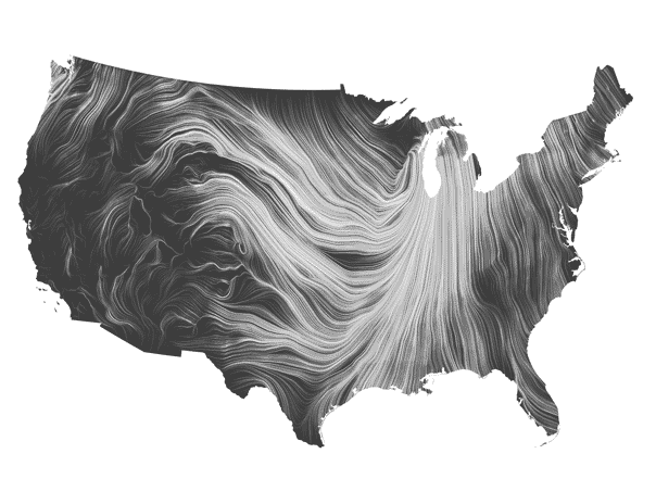 Wind map of the US
