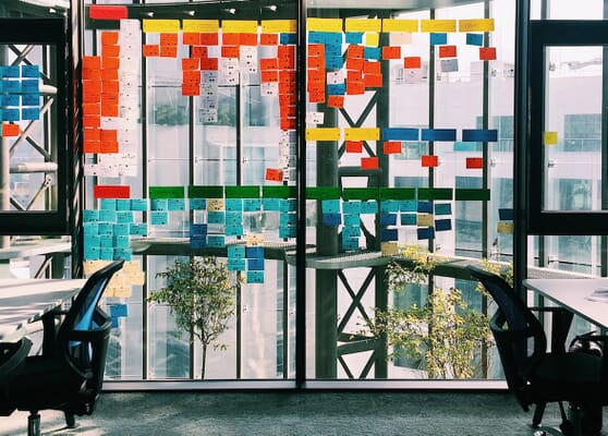 Colorful sticky notes on wall