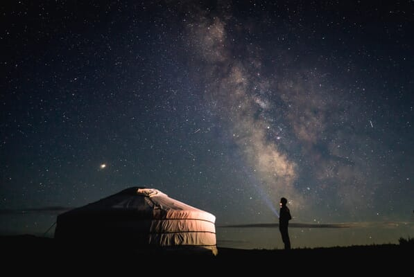 Observing space by tent