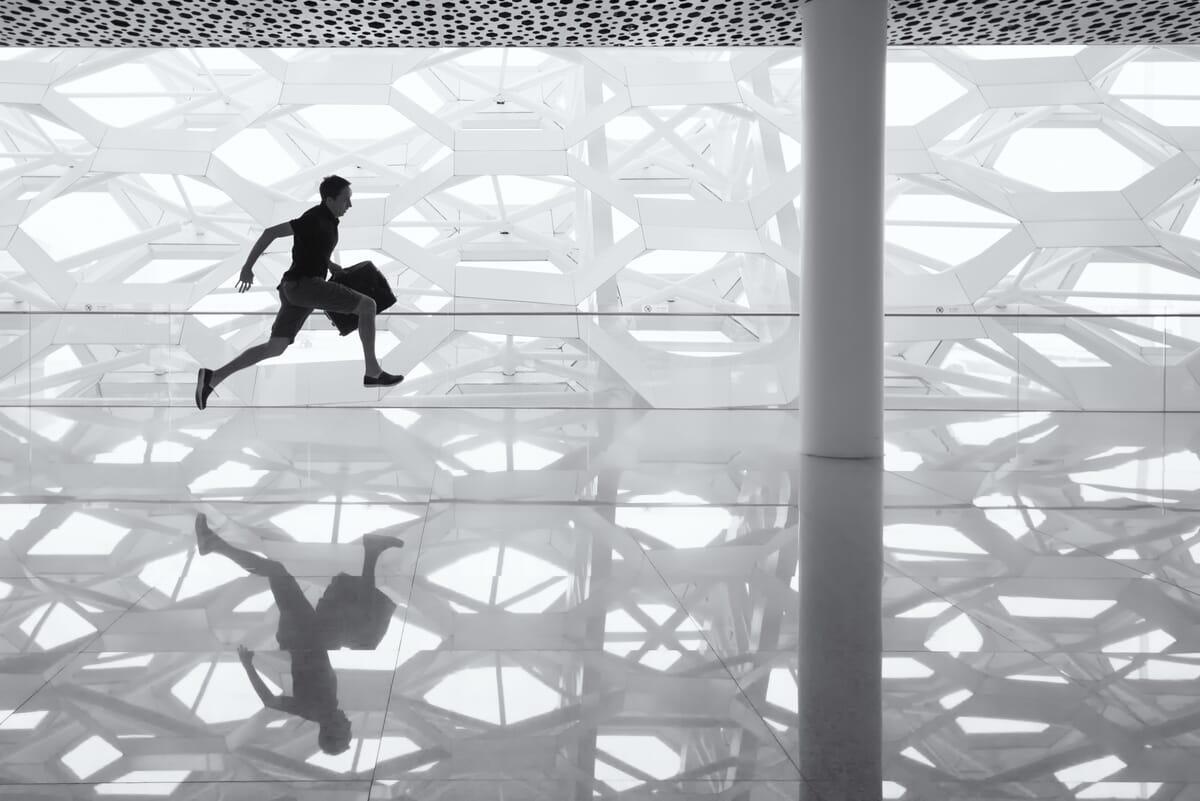 Running through airport