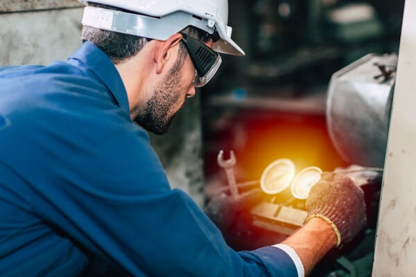 Factory worker with goggles