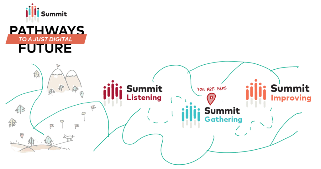 Summit journey graphic with marker over summit gathering